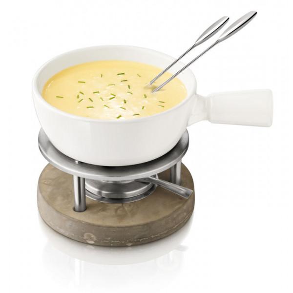 Service à fondue savoyarde avec caquelon en céramique BOSKA Blanc