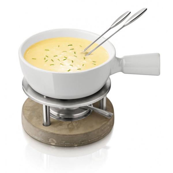 Service à fondue savoyarde avec caquelon en céramique BOSKA Gris