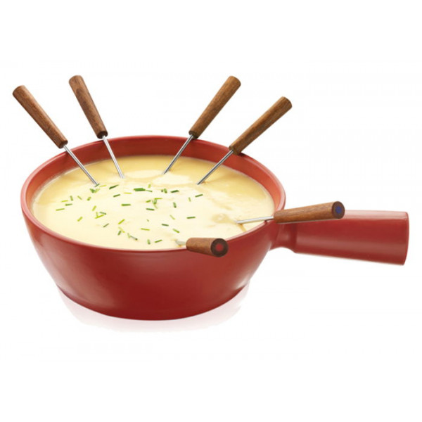 Caquelon à fondue rouge Boska Taste 6 personnes